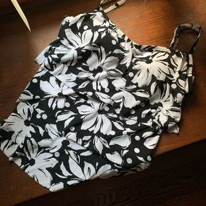 St John's Bay Black & White Print Tankini Top
